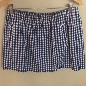 J Crew Factory Elastic Waist Gingham Mini Skirt